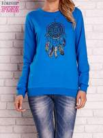 Niebieska bluza z nadrukiem łapacza snów                                  zdj.                                  1