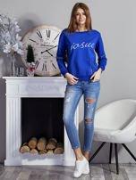 Niebieska bluza z napisem i suwakami                                  zdj.                                  4