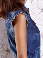 Niebieska denimowa koszula z surowym wykończeniem                                  zdj.                                  7