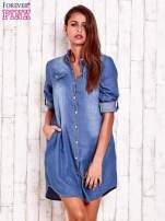Niebieska denimowa sukienka koszula z kieszonkami                                  zdj.                                  1