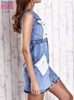 Niebieska denimowa sukienka z kieszeniami                                  zdj.                                  3