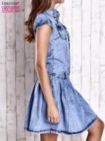 Niebieska denimowa sukienka z obniżonym stanem                                  zdj.                                  3