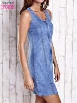 Niebieska denimowa sukienka z suwakiem                                  zdj.                                  3