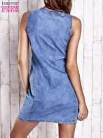Niebieska denimowa sukienka z suwakiem                                  zdj.                                  4