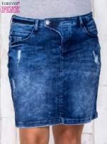 Niebieska jeansowa spódnica mini z przetarciami i kieszeniami PLUS SIZE                                  zdj.                                  1