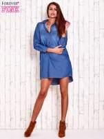 Niebieska jeansowa sukienka koszula z dłuższym tyłem                                  zdj.                                  2
