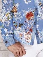 Niebieska koszula w kwiaty ze wstawkami z denimu                                                                          zdj.                                                                         5