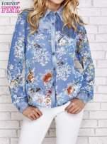 Niebieska koszula w kwiaty ze wstawkami z denimu                                  zdj.                                  1