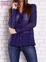 Niebieska koszulowa bluzka mgiełka z wiązanym dekoltem                                                                          zdj.                                                                         1