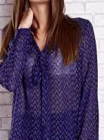 Niebieska koszulowa bluzka mgiełka z wiązanym dekoltem                                  zdj.                                  6