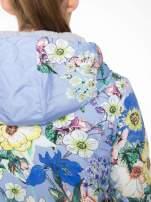Niebieska kwiatowa kurtka bomber jacket z kapturem                                                                          zdj.                                                                         9