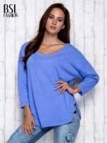Niebieska melanżowa bluzka z dekoltem na plecach                                  zdj.                                  3