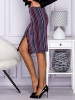 Niebieska pasiasta spódnica midi z zipem