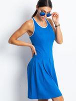 Niebieska rozkloszowana sukienka z dekoltem typu bokserka                                                                          zdj.                                                                         8
