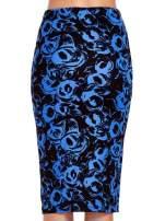 Niebieska spódnica ołówkowa w róże                                  zdj.                                  7