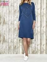 Niebieska sukienka dresowa z sercem z dżetów                                                                          zdj.                                                                         5