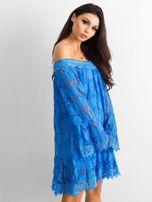 Niebieska sukienka hiszpanka z szerokimi rękawami                                  zdj.                                  1