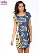 Niebieska sukienka z panterkowym nadrukiem                                                                          zdj.                                                                         1