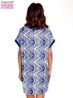 Niebieska tunika w azteckie wzory                                                                          zdj.                                                                         4