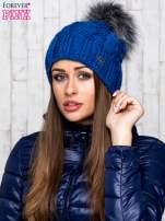 Niebieska wełniana czapka z pomponem                                  zdj.                                  1