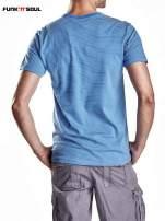 Niebieski klasyczny t-shirt męski w paski Funk n Soul                                  zdj.                                  2