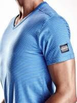 Niebieski klasyczny t-shirt męski w paski Funk n Soul                                  zdj.                                  6