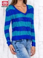Niebieski sweter w paski                                   zdj.                                  3