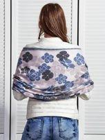 Niebieski szal damski w kwiaty                                  zdj.                                  2