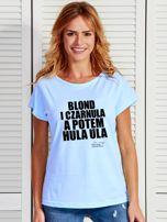 Niebieski t-shirt damski BLOND I CZARNULA by Markus P                                  zdj.                                  1