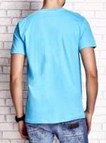 Niebieski t-shirt męski z napisami BROOKLYN NEW YORK SPIRIT 86                                  zdj.                                  2