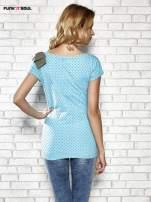 Niebieski t-shirt z kokardą na ramieniu Funk n Soul                                  zdj.                                  4