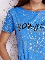 Kobaltowy t-shirt z napisem BONJOUR                                                                          zdj.                                                                         5