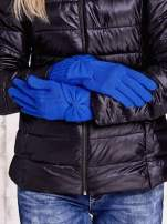 Niebieskie długie rękawiczki z kokardą i prążkowanym ściągaczem                                  zdj.                                  3
