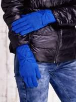Niebieskie długie rękawiczki z kokardą i prążkowanym ściągaczem                                  zdj.                                  2
