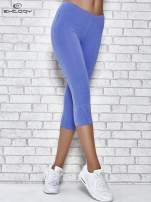 Niebieskie legginsy sportowe z dżetami i marszczoną nogawką za kolano                                  zdj.                                  1