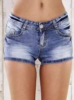 Niebieskie marmurkowe szorty jeansowe                                                                           zdj.                                                                         1
