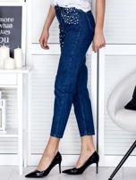 Niebieskie proste spodnie z perełkami                                  zdj.                                  2