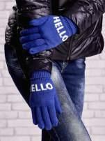 Niebieskie rękawiczki HELLO na pięć palców z wywijanym ściągaczem                                  zdj.                                  3