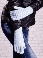 Niebieskie rękawiczki z ażurową warstwą                                  zdj.                                  3
