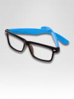 Niebiesko-czarne okulary zerówki kujonki typu WAYFARER NERDY                                  zdj.                                  3