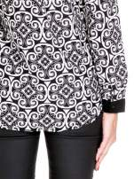Ornamentowa koszula z czarnym biżuteryjnym kołnierzykiem i mankietami                                  zdj.                                  8