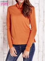 Pomarańczowa gładka bluzka z golfem