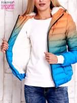 Pomarańczowo-niebieska kurtka ombre z futrzanym kołnierzem                                  zdj.                                  7