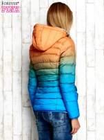Pomarańczowo-niebieska kurtka ombre z futrzanym kołnierzem                                  zdj.                                  2