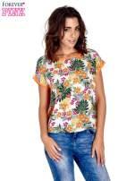Pomarańczowy t-shirt z nadrukiem kwiatowym                                  zdj.                                  1
