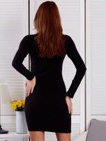 Prążkowana sukienka lace up z chokerem czarna                                  zdj.                                  2
