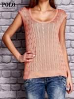 RALPH LAUREN Koralowy sweter z warkoczowym splotem                                  zdj.                                  1
