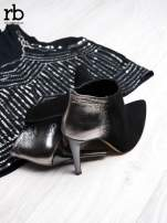 ROCCOBAROCCO Czarnosrebrne botki dual leather na szpilkach w szpic                                  zdj.                                  1