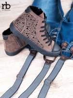 ROCCOBAROCCO brązowe zamszowe sneakersy true suede z czarnymi błyszczącymi kamieniami                                  zdj.                                  2