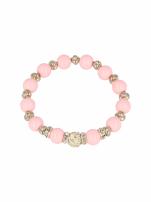 Różowa Bransoletka koralikowa z kulką schamballa                                  zdj.                                  2